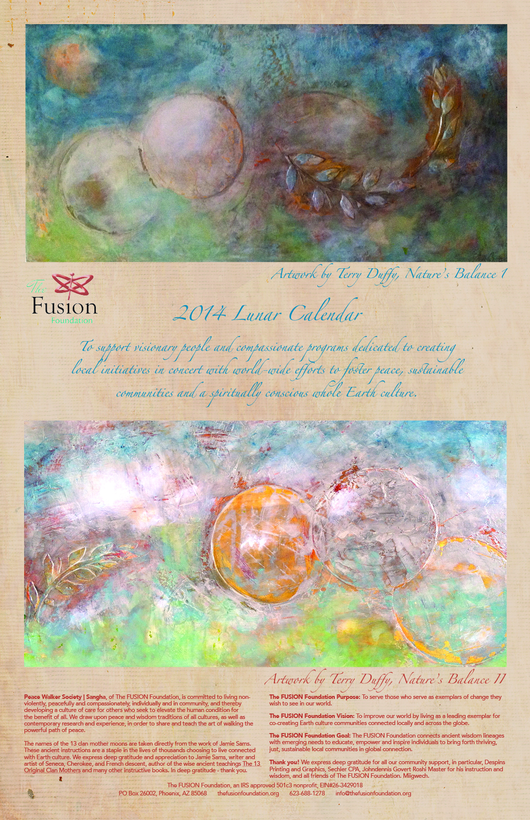 2014 FUSION Foundation 13 moon Calendar